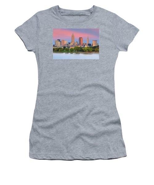 Women's T-Shirt (Junior Cut) featuring the photograph Cleveland Skyline 6 by Emmanuel Panagiotakis