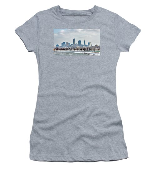 Women's T-Shirt (Junior Cut) featuring the photograph Cleveland Skyline In Winter by Bruce Patrick Smith