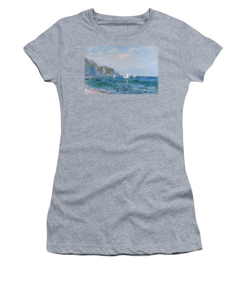 Cliffs And Sailboats At Pourville  Women's T-Shirt