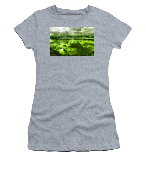Women's T-Shirt (Junior Cut) featuring the photograph Clouds Reflecting Off The Columbia  by Jeff Swan