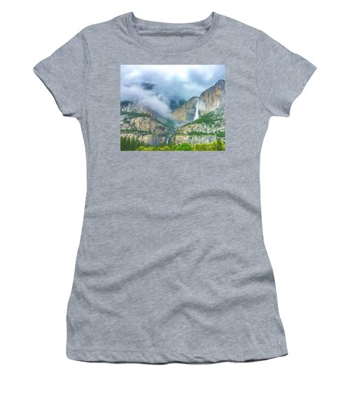 Cloudy Day At Yosemite Falls Digital Watercolor Women's T-Shirt (Athletic Fit)