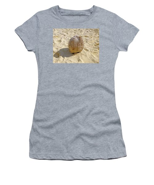 Women's T-Shirt (Athletic Fit) featuring the photograph Coconut In The Sand by Francesca Mackenney