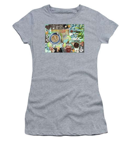 Coffee Shop Collage Women's T-Shirt (Athletic Fit)