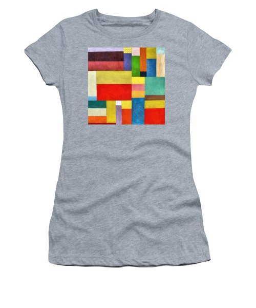 Color Panel Abstract With White Buttons Women's T-Shirt