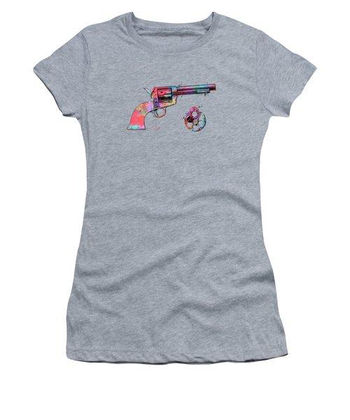 Colorful 1875 Colt Peacemaker Revolver Patent Minimal Women's T-Shirt