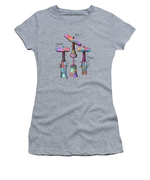 Colorful 1883 Wine Corckscrew Patent Women's T-Shirt (Athletic Fit)