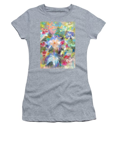 Women's T-Shirt (Junior Cut) featuring the painting Columbine In The Wildflowers by Frances Marino