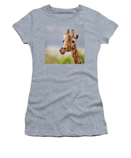 Comical Giraffe With His Tongue Out.  Women's T-Shirt