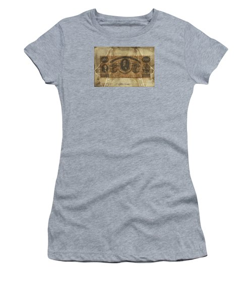 Women's T-Shirt (Junior Cut) featuring the digital art Confederate $100 Virginia Note by Melissa Messick