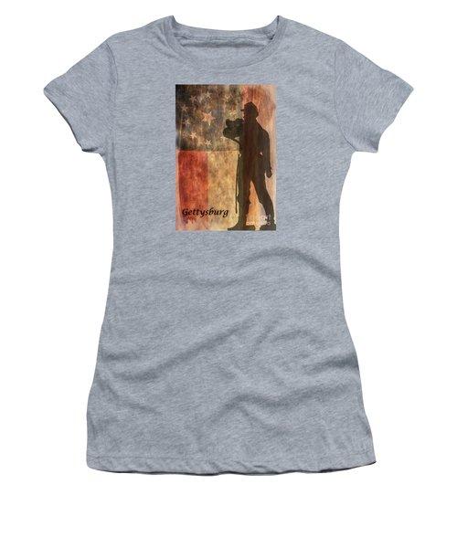 Confederate Flag And Bugler Gettysburg  Women's T-Shirt (Junior Cut) by Randy Steele