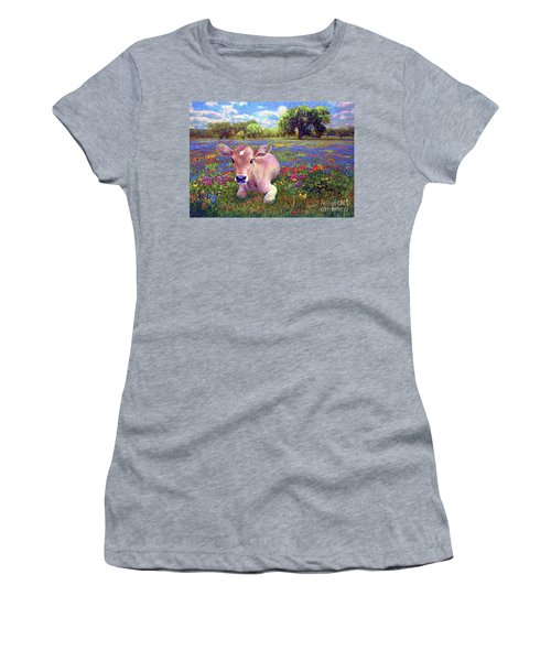 Contented Cow In Colorful Meadow Women's T-Shirt (Athletic Fit)