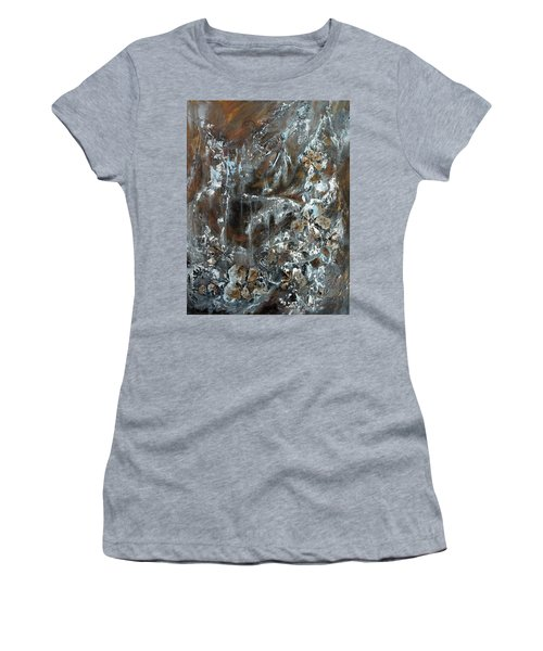 Women's T-Shirt (Junior Cut) featuring the painting Copper And Mica by Joanne Smoley