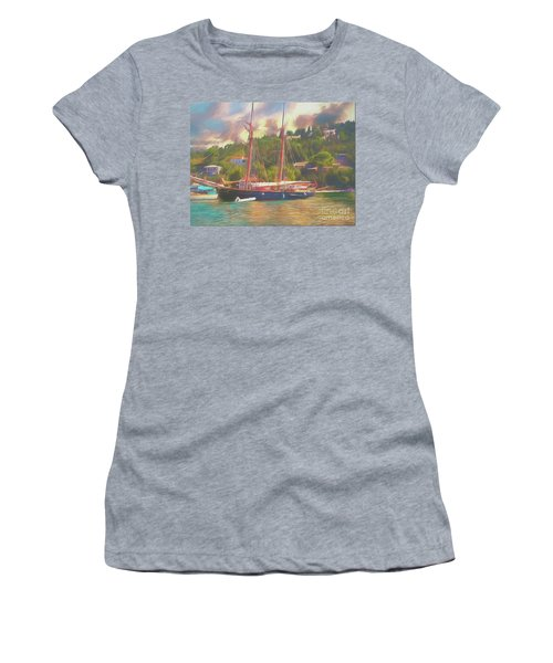 Women's T-Shirt featuring the photograph Corfu 35 Tall Ship In Paxos by Leigh Kemp