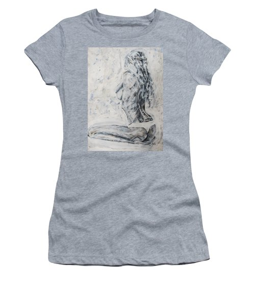 Women's T-Shirt (Junior Cut) featuring the painting Cosmic Love by Jarko Aka Lui Grande