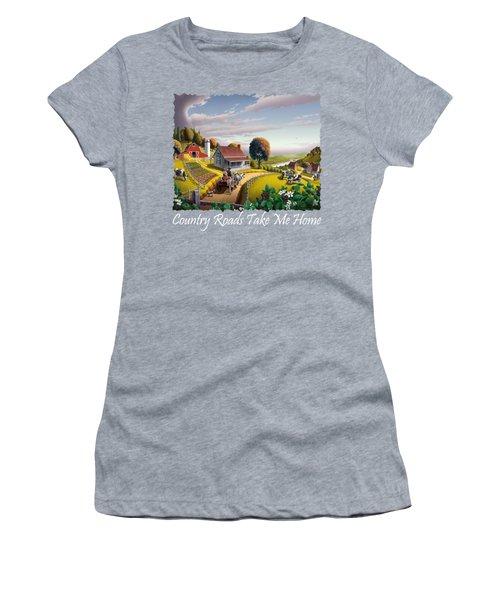 Country Roads Take Me Home T Shirt - Appalachian Blackberry Patch Country Farm Landscape 2 Women's T-Shirt
