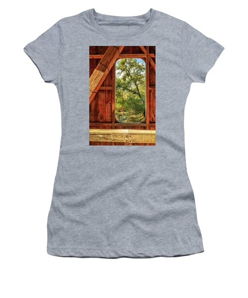 Women's T-Shirt (Junior Cut) featuring the photograph Covered Bridge Window by James Eddy