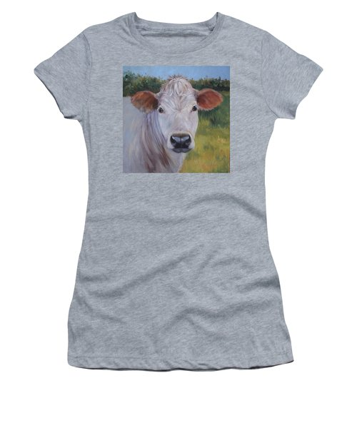 Cow Painting Ms Ivory Women's T-Shirt (Athletic Fit)
