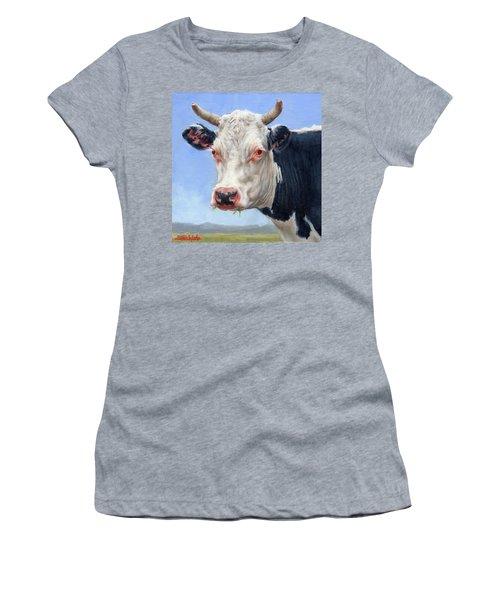 Cow Portrait  Mini Painting Women's T-Shirt (Athletic Fit)