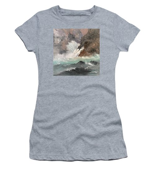 Crashing Waves Seascape Art Women's T-Shirt (Athletic Fit)