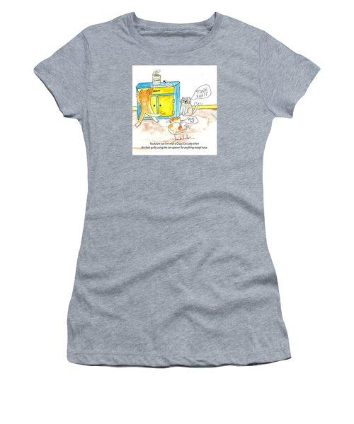 Crazy Cat Lade 0008 Women's T-Shirt (Junior Cut) by Lou Belcher