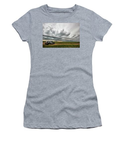 Crazy Shelf Cloud Near Ponteix Sk. Women's T-Shirt (Junior Cut) by Ryan Crouse