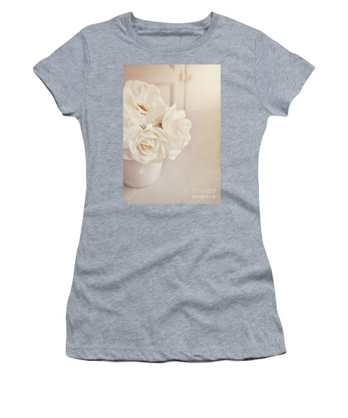 Women's T-Shirt (Junior Cut) featuring the photograph Cream Roses In Vase by Lyn Randle
