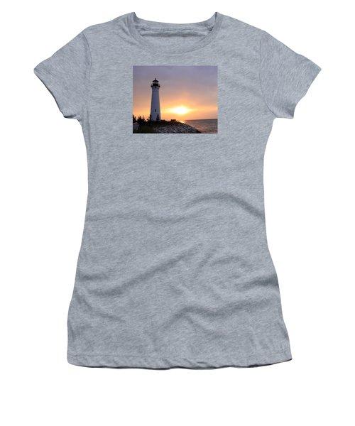 Crisp Point Lighthouse At Sunset Women's T-Shirt (Junior Cut) by George Jones