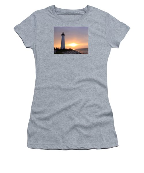 Crisp Point Lighthouse At Sunset Women's T-Shirt (Athletic Fit)