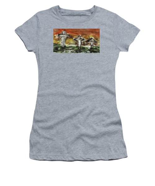 Women's T-Shirt featuring the painting Crucifixion #2 by Michael Lucarelli
