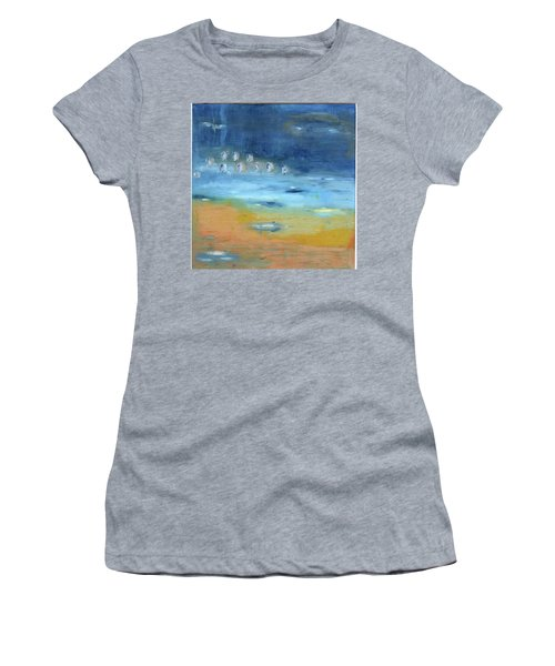 Women's T-Shirt (Junior Cut) featuring the painting Crystal Deep Waters by Michal Mitak Mahgerefteh