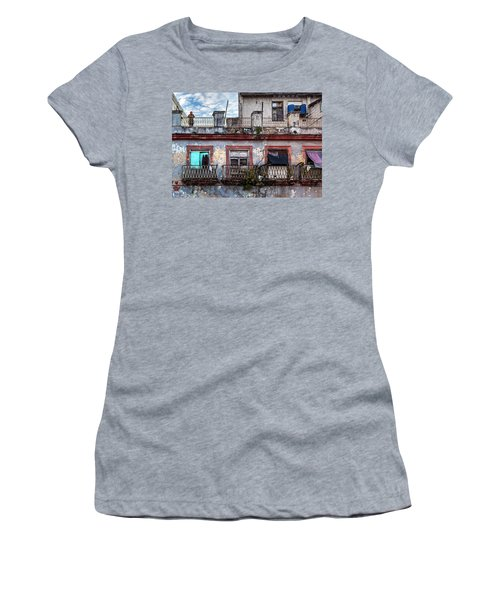 Women's T-Shirt (Athletic Fit) featuring the photograph Cuban Woman At Calle Bernaza Havana Cuba by Charles Harden
