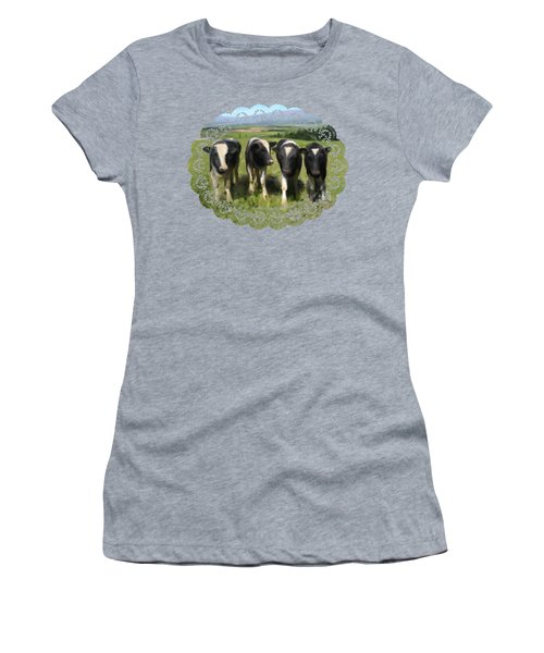 Women's T-Shirt featuring the painting Curious Cows by Ivana Westin