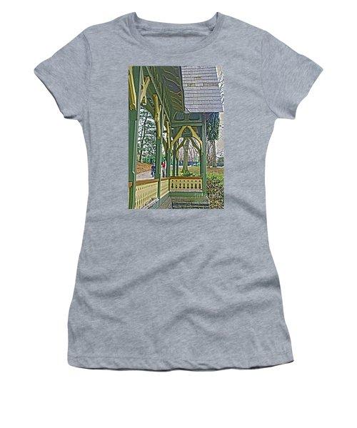 Women's T-Shirt (Junior Cut) featuring the photograph Dairy Cottage Porch by Sandy Moulder
