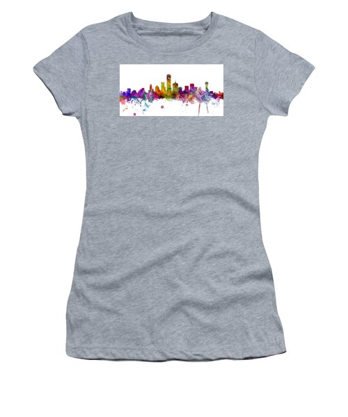 Dallas Texas Skyline Panoramic Women's T-Shirt (Athletic Fit)
