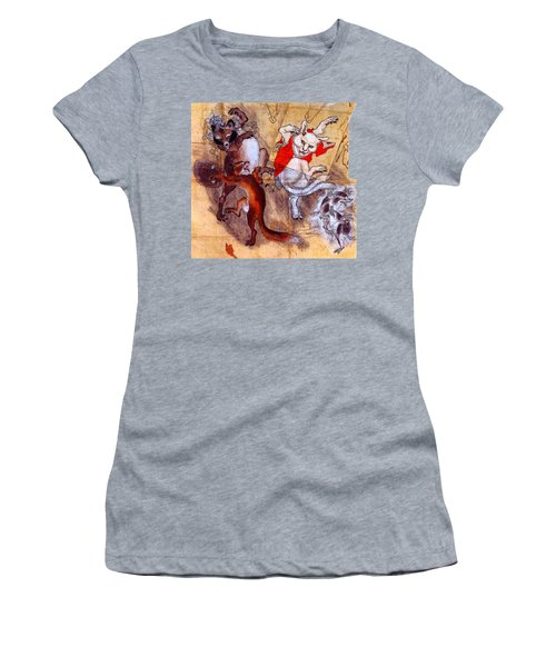 Japanese Meiji Period Dancing Feral Cat With Wild Animal Friends Women's T-Shirt (Athletic Fit)
