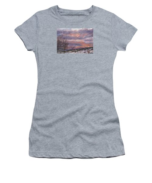 Women's T-Shirt (Junior Cut) featuring the painting Daylight's Last Blush by Anne Gifford