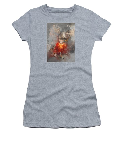 Women's T-Shirt (Junior Cut) featuring the digital art Deer Princess by Te Hu