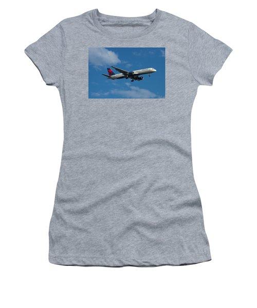 Delta Air Lines 757 Airplane N668dn Women's T-Shirt (Junior Cut) by Reid Callaway