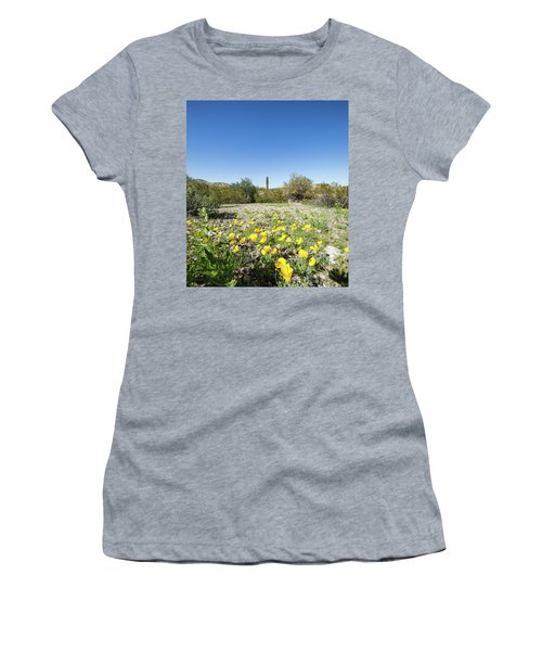 Desert Flowers And Cactus Women's T-Shirt (Junior Cut) by Ed Cilley
