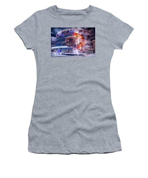 Women's T-Shirt (Junior Cut) featuring the photograph Detroit Lions At Ford Field 2 by Nicholas Grunas