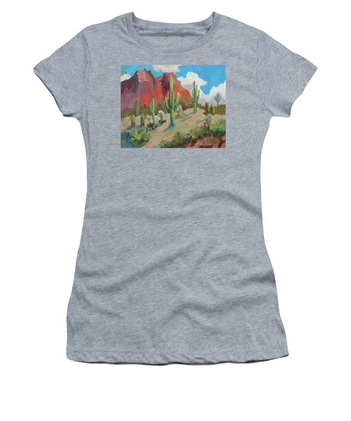 Women's T-Shirt (Junior Cut) featuring the painting Dinosaur Mountain by Diane McClary