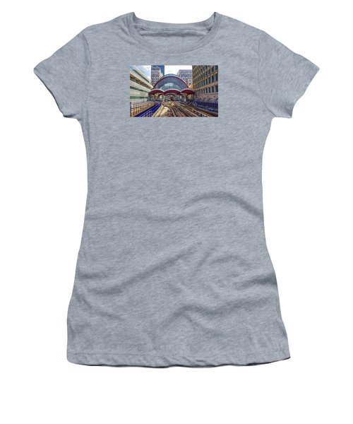 Dlr Canary Wharf And Approaching Train Women's T-Shirt (Junior Cut) by Venetia Featherstone-Witty