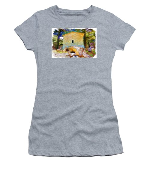 Do-00435 Building Surrounded By Cedars Women's T-Shirt (Athletic Fit)