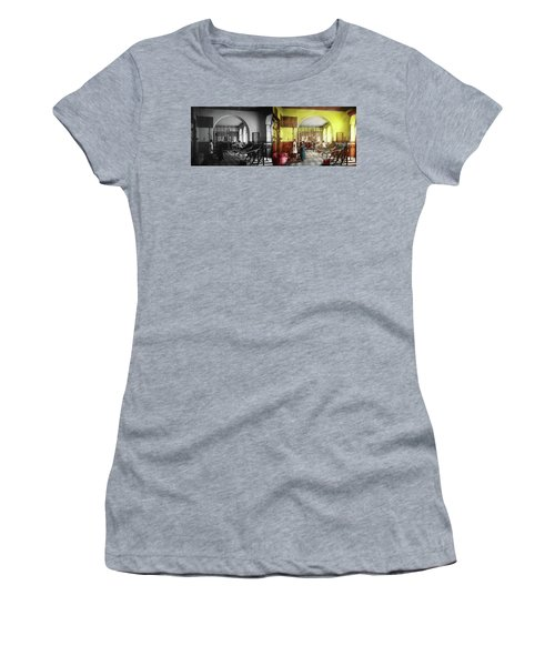 Women's T-Shirt (Athletic Fit) featuring the photograph Doctor - Physical Therapist - Welcome To The A Traction 1918 - Side By Side by Mike Savad