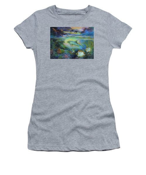 Women's T-Shirt (Athletic Fit) featuring the painting Dolphin Fantasy by Denise Fulmer