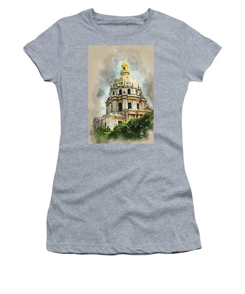 Women's T-Shirt (Junior Cut) featuring the digital art Dome Des Invalides by Kai Saarto