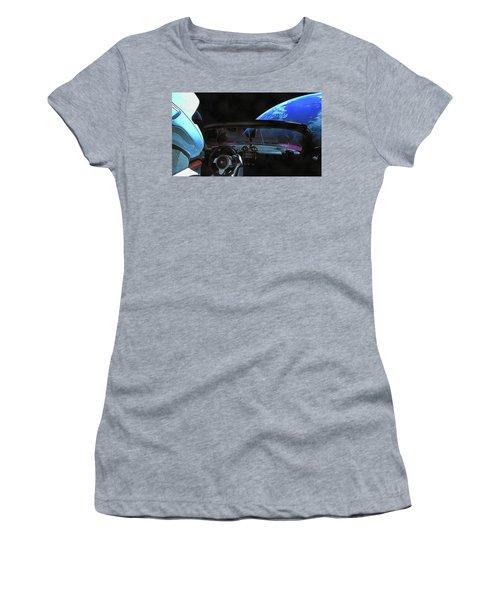 Dont Panic - Tesla In Space Women's T-Shirt