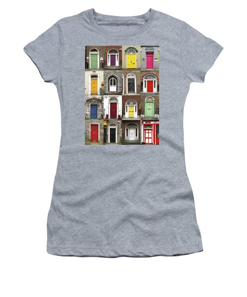 Women's T-Shirt (Junior Cut) featuring the photograph Doors Of Limerick by Marie Leslie