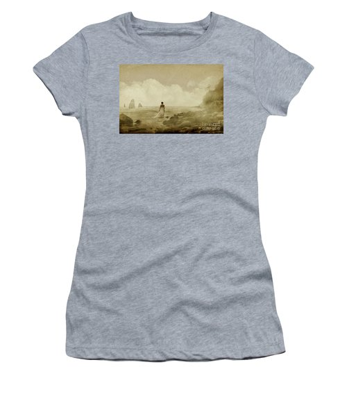 Dramatic Seascape And Woman Women's T-Shirt (Athletic Fit)