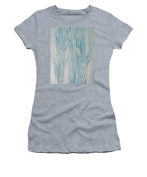 Women's T-Shirt (Athletic Fit) featuring the painting Dream Angels by Michele Myers